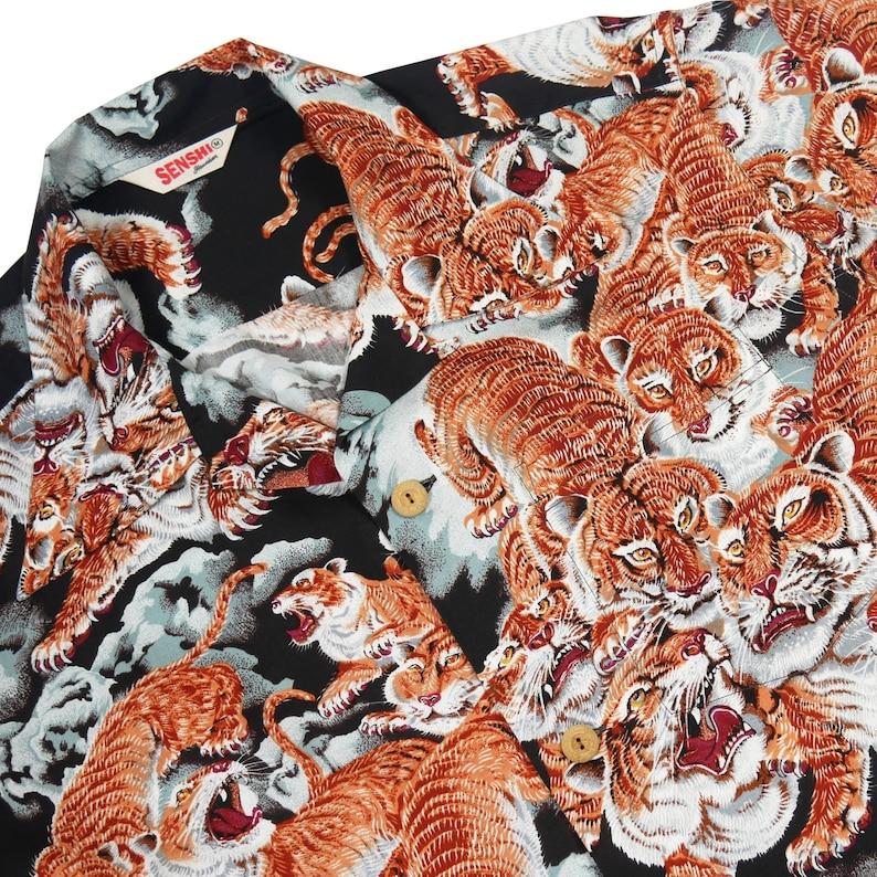 One hundred Tigers Black coler Hawaiian Shirt