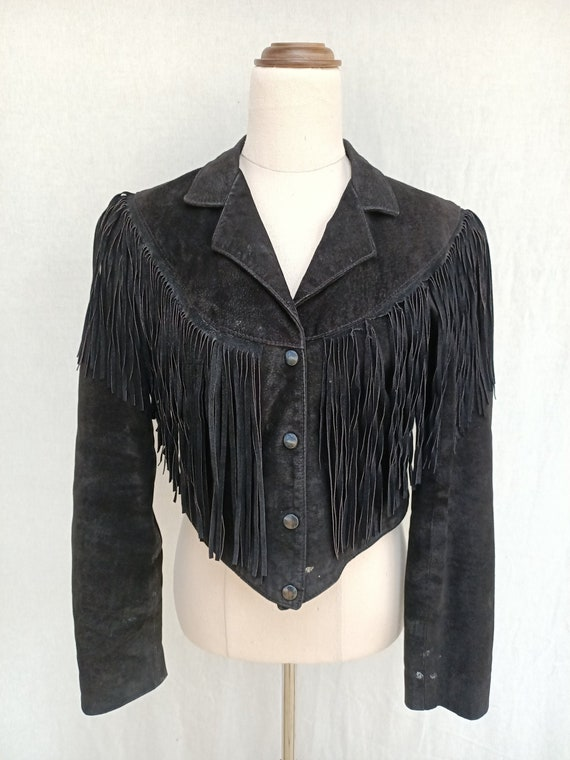 Vintage 90s Western Fringe Cowboy Black Leather Su