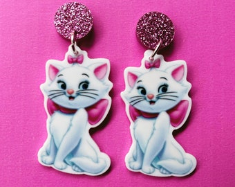 Aristocats Marie stainless steel silver stud earrings rockabilly kitten Disney retro vintage kawaii pin up accessories ladies girls women