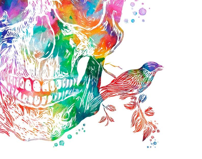 Watercolor Anatomy Print Heart and Birds Human Skull Bronchial Tree Medical Art Doctor Office Decor Clinic Wall Art Surgeon Gift