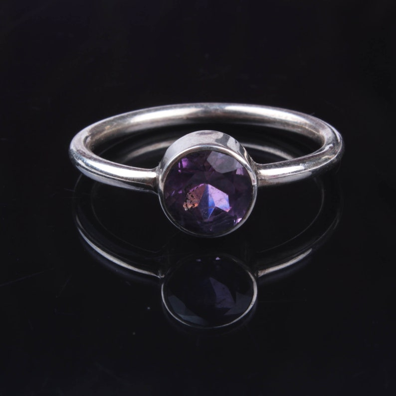 925 Sterling Silver Handmade Jewelry Round Faceted Purple Amethyst Gemstone Silver Jewelry Natural Purple Amethyst Gemstone Silver Ring