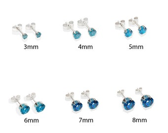 Every Day Sterling Silver London Blue CZ Crystal Stud Earrings
