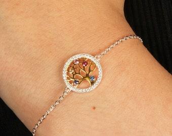 Sterling Silver CZ Tree of Life Bracelet