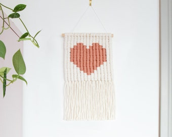 Blush Heart Icon Macrame Wall Hanging