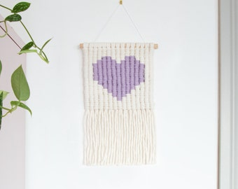 Lavender Heart Icon Macrame Wall Hanging