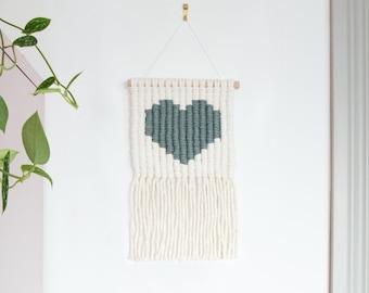 Laurel Heart Icon Macrame Wall Hanging