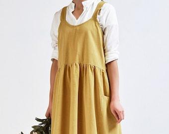 handmade linen apron kitchen, linen crossback apron with pockets, linen pinafore apron yellow