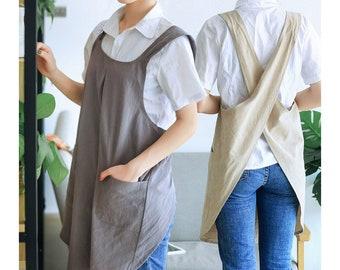 cross back apron with pockets, Japanese Korean Style Basic Linen apron