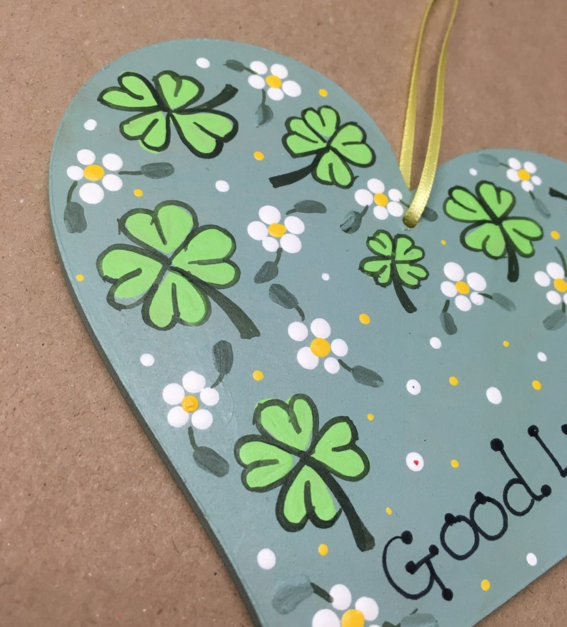 SALE Good Luck Hand Painted Original Artwork Floral Wooden Heart