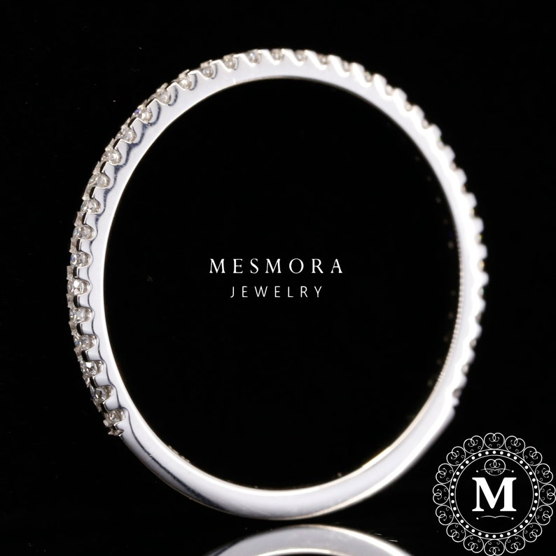 White gold Eternity Band Gift Anniversary Band Round Cut Moissanite Diamonds 1.5MM 34 Eternity Wedding White Gold Band Mothersday Sale