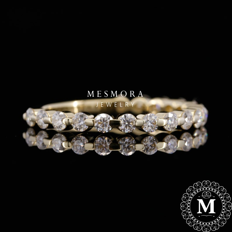 Moissanite Band Wedding Band Anniversary Band White Gold Eternity Band Mothersday Sale 2MM Yellow Gold 34 Eternity Band in 10k14k18k