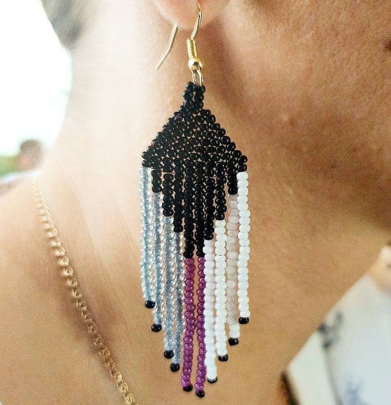 Long Seed bead fringe earrings Trigender earrings beaded Native american earrings