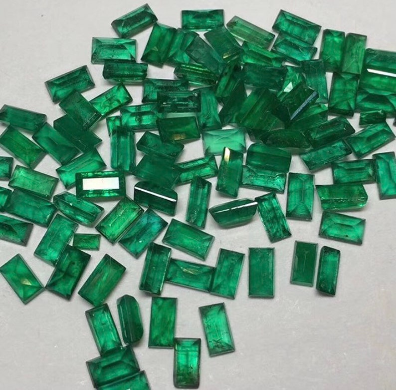 Price Per Piece 3x6mm Natural Emerald Faceted Baguette Cut Top AAA Quality Loose Emerald Baguette Gemstone