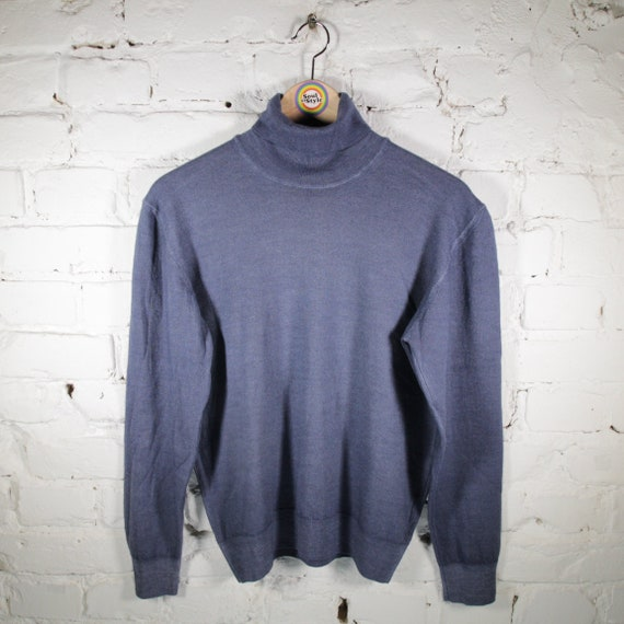 VINTAGE 80/'s Womens TURTLENECK SWEATER Merino Wool Size S Pullover Simple Classic