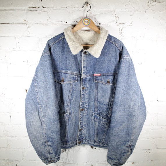 Vintage 90s Sheepskin Jeans Denim Jacket Size M