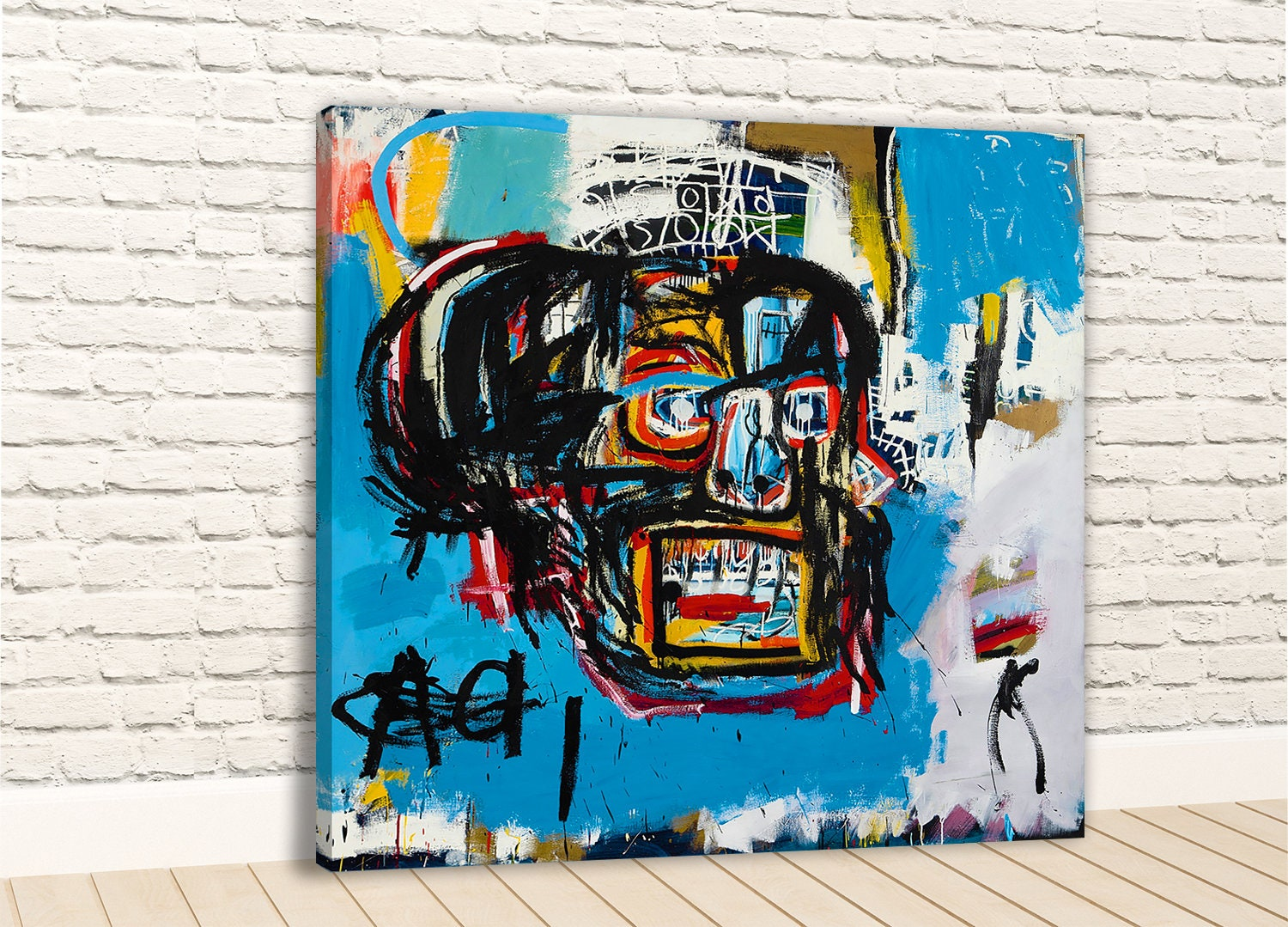 Jean-Michel Basquiat Fallen Angel New HD print on Canvas ready to hang large size wall Picture or Hand painted oil Painting 28x24 inches