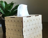 Tissue box cover engraved with geometric pattern. Use as a tissue box or turn upside down as a planter.