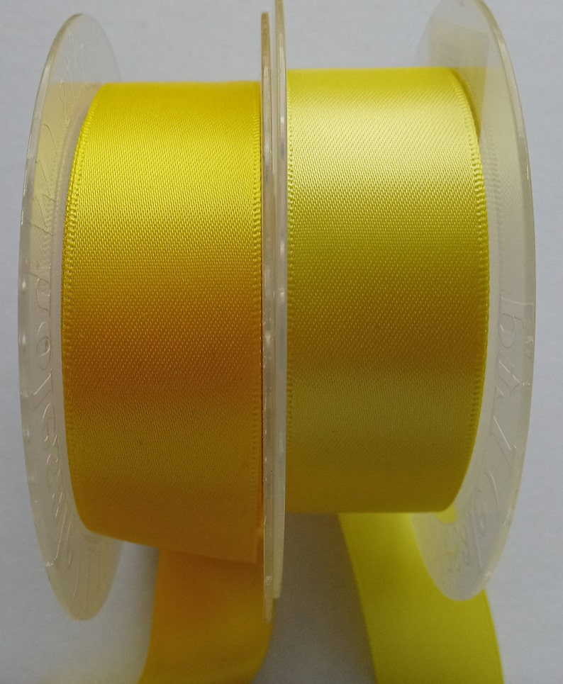 Ribbons Daffodil  Lemon 100/% Polyester Double Face Satin 25 mm Cut  3 Metre Pieces