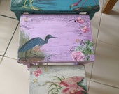 Unique, incredibly beautiful, designer set of 3 side tables, nest of tables, shabby chic, up cycled. Coffee table