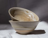 White-beige small tea bowl ceramic - Green tea bowl stoneware - Handmade
