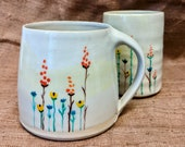 Handmade wildflower cup cup with spring-like fresh decoration in pastel tones - hand-potted cup - coffee mug - teacup