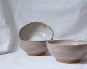 white and brown stoneware muesli bowl- hand pottery bowl- ceramic bowl