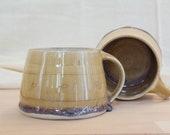 Large stoneware cup with brown-lilaner gradient glaze - hand-made cup - coffee mug