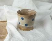 Hand-held ceramic mug with blue dots - water cup - stoneware mug