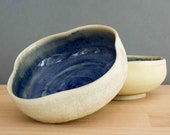 Flower-shaped bowls with foot ring set of 2 - bowls - tea bowl - blue and white