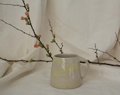 White-Yellow Stoneware Cup with Dynamic Engoben Decoration in Pastel Tones - Hand Potted Cup - Coffee Mug - Teacup