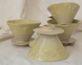 Handmade white-yellow ceramic coffee filter - V60 coffee filter - filter coffee