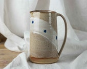 Beiger stoneware ceramic jug with blue dots- hand-potted water jug