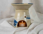 White Blue Oil Lamp for Fragrance Oils - Hand-potted Oil Lamp - Scented Oil Diffuser