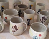 Handmade ceramic drinking cup- feeling mug - Easter mug - Cyllindric hand-turned white yellow ceramic mug with plant motif