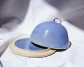 Handmade ceramic butter can with blue glaze