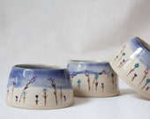 Hand-turned and painted espresso cup- Wildflowers cup- Blue little cup with flowers