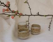 Tea lights cast in ceramic cups