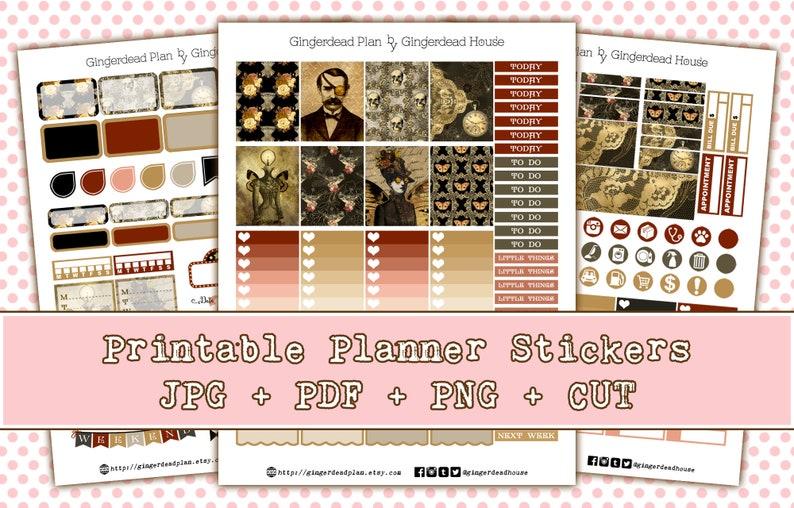 Victorian Gothic  Steampunk  Halloween Printable Planner image 0