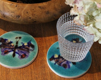 Hand made Peacock butterfly tile coasters , wildlife lover , nature lover , Butterfly lover ,