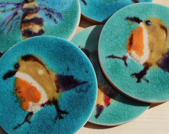 Hand painted  Robin ceramic tile coasters , Bird lover , natural world lover