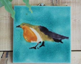 Hand made Robin picture wall art , hanging Bird art tile,  , Robin decorative hanging wall tile , unique Bird art tile for wall