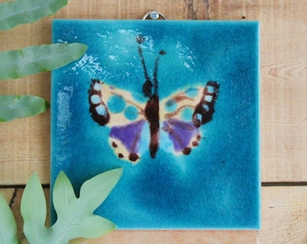 Hand decorated Butterfly tile hanging wall art , picture art tile , Butterfly wall decor , ceramic wall art