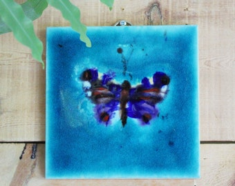 Hand painted Butterfly hanging art tile , decorative Butterfly tile , ceramic wall art, lovely gift