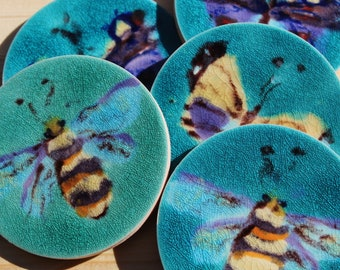 Unique gift ,hand painted Bee ceramic tile coasters , birthday gift , Bee lover , wildlife lover