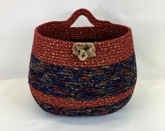 Large red and blue coiled fabric basket by Root River Baskets, coiled basket, rope basket, clothesline basket, hanging basket, yarn basket