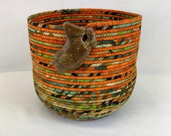 Large round orange and green coiled fabric basket, coiled basket, rope basket, clothesline basket, yarn basket, crochet basket, knitting