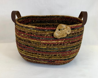Large oval coiled fabric basket in browns and red, coiled basket, rope basket, clothesline basket, yarn basket, magazine basket, for books