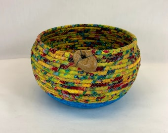 Medium round yellow and blue fabric coiled basket by Root River Baskets, coiled basket, rope basket, clothesline basket, mask basket, gift