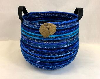 Large round blue coiled fabric basket with handles, coiled basket, rope basket, clothesline basket yarn basket, mitten basket, book basket