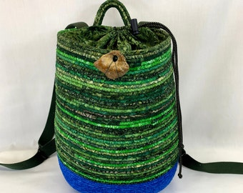 Green and blue oval backpack, coiled basket, rope basket, hiking backpack, day pack, day hiking backpack, market backpack, market basket